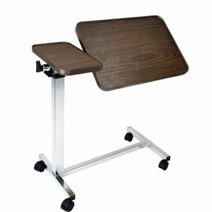 Medical Adjustable Overbed Bedside Table with Wheels, Tilt Table