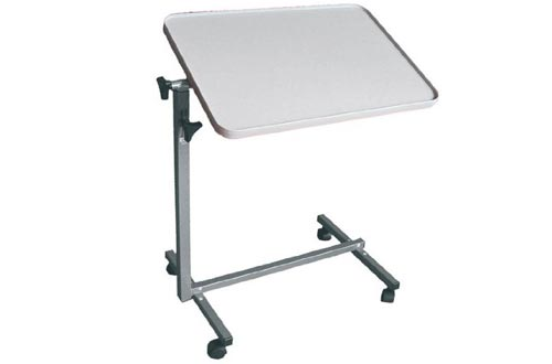 MedMobile Tilting Table with Tall Edge Laminated Overbed Table Top