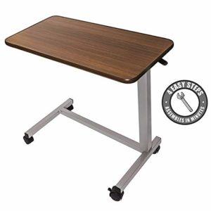 Medical Adjustable Overbed Bedside Table with Wheels