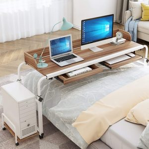 Desk Tray with Cable Management with Wheels and Heavy-Duty Metal Legs